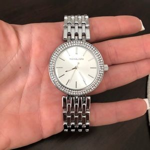 Authentic Michael kors silver rhinestone watch